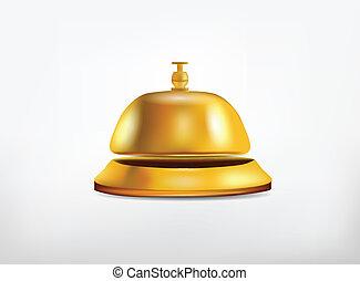 recepción, dorado, campana, aislado, blanco