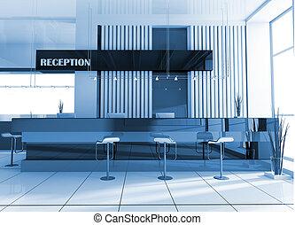 recepción, en, hotel