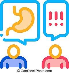 recepción, ilustración, consulta, contorno, gastroenterologist, doctor, vector, icono
