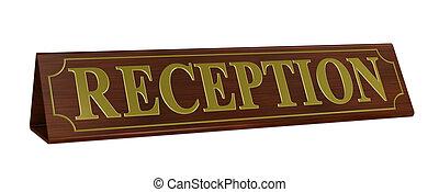 recepción, letrero nombre