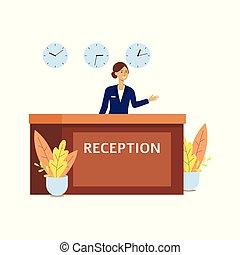 recepcionista, uniforme, escritorio, caricatura, habitación, tres, vestíbulo del hotel, frente, mujer, contador de la recepción, feliz, clocks