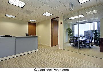 recepcyjna powierzchnia, w, biuro