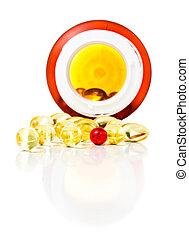 recept, biljard, spilla, ute, av, pill glasen, isolerat, vita