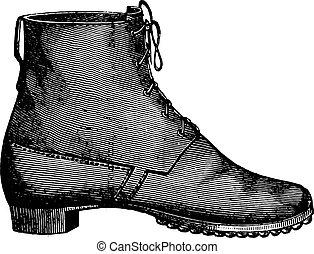recept, cipő, helyett, a, lábfej katona, elmúlt, szüret,...