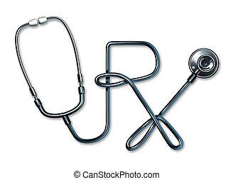 recept, hälsa varsamhet, stetoskop