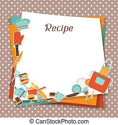recept, kök, utensils., bakgrund, restaurang