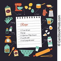 recept, vektor, tervezés, chalkboard, sablon, étkezés