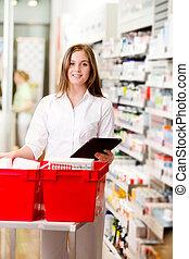 recepta, farmaceuta, tabliczka, cyfrowy