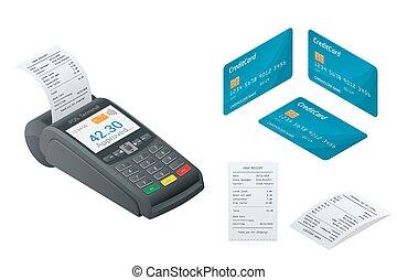 recepta., illustration., karta, zbyt, odizolowany, isometric, terminal, terminal, kredyt, pos, drukowany, debet, biały, karta