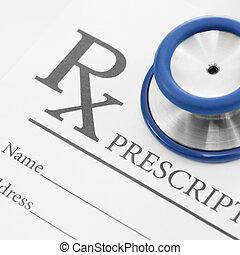 recepta, kształt, na, -, 1, stetoskop, czysty, studio, medyczny, strzał, stosunek