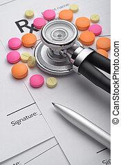 recepta, medyczny, stetoskop, kształt