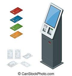 recepta., pojęcie, terminal, wpłaty, komplet, dotyk, isometric, samoobsługa, systemy, cyfrowy, online, kiosk, ekran, debet, wpłata, karta, nfc, gotówka, kredyt, wektor, wpłaty, terminals, interaktywny