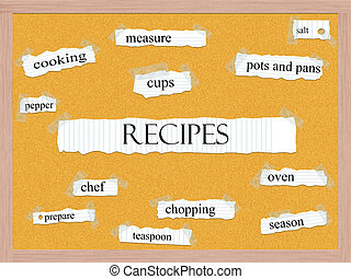 recepten, corkboard, ord, begrepp