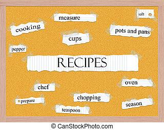 recepten, corkboard, woord, concept