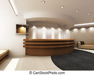 A reception area in an office block. (A blank board for placing company logo.)