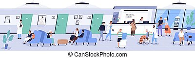 Reception area of medical center or hospital with people or patients waiting for doctor's appointment. Men, women and children at physician's office or clinic. Flat cartoon vector illustration