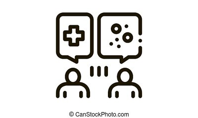 reception at dermatologist doctor consultation Icon Animation. black reception at dermatologist doctor consultation animated icon on white background