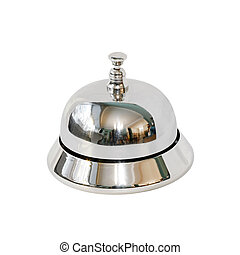 Reception bell - Retro silver reception bell isolated with...