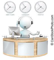Reception. - Classic reception with 3 Clocks. Receptionist ...