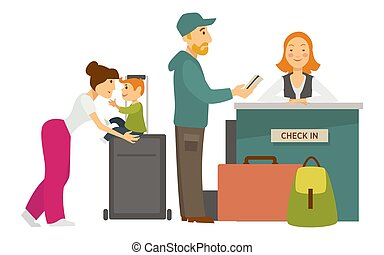 Reception desk check in airport family with baggage and...