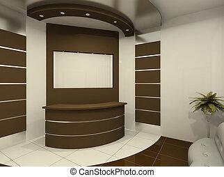 Reception desk in modern room