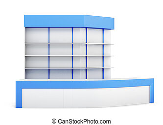 Reception desk isolated on white background. Front view. 3d rend