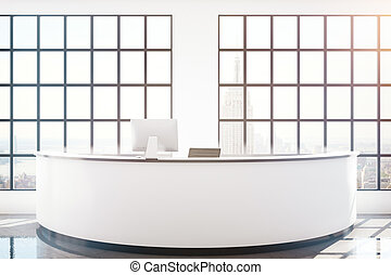 Reception desk with NY view - Modern reception desk with ...