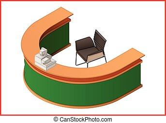 Reception flat isometric 3d illustration