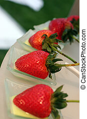 Reception food - strawberries on a platter for a wedding...