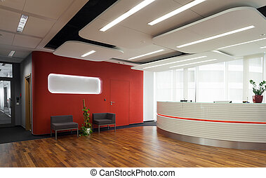 Reception in modern hotel - Horizontal view of reception in...