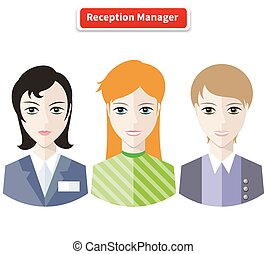 Reception manager. Personal assistant concept set with time management and secretary work flat icons illustration. Reception desk, receptionist, office reception, hotel reception, wedding reception