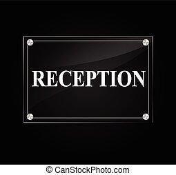 Illustration of reception sign on black background