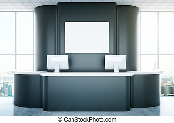 Reception with empty poster - Black recepetion desk with ...