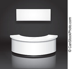 Reception/exhibition counter with sign board - Editable...