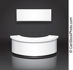 reception/exhibition, kantor, z, poznaczcie deskę