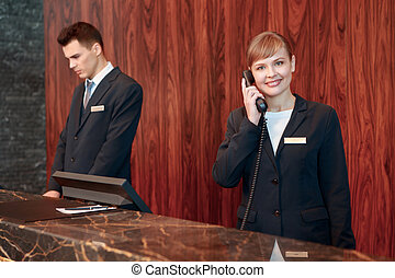 Receptionist answering the call
