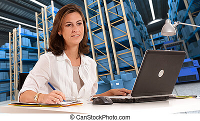 Receptionist at distribution warehouse c