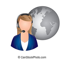 receptionist - woman receptionist with headphones over white...