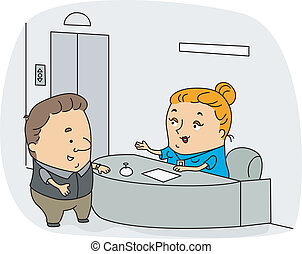 Receptionist - Illustration of a Receptionist at Work