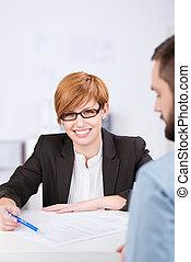Receptionist Explaining Document