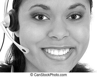 Receptionist Headset - Beautiful Receptionist Wearing...