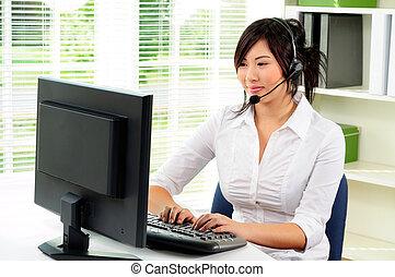 Receptionist - Beautiful Asian Female Call Center Telephone...