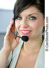 Receptionist wearing a headset