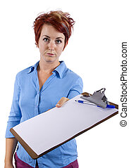 Receptionist with a clip board - young female welcoming...
