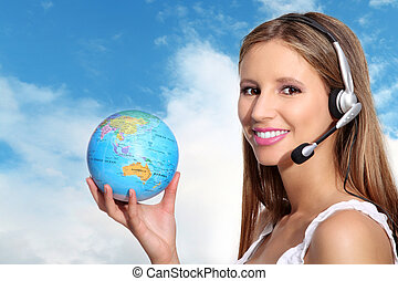 Receptionist with headphones and gl