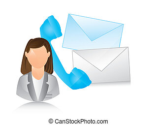 receptionist with phone and envelope. vector illustration
