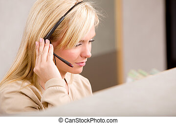 Receptionist with Phone Headset