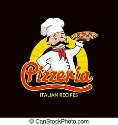 recepty, włoski, logotype, pizzeria, promocyjny