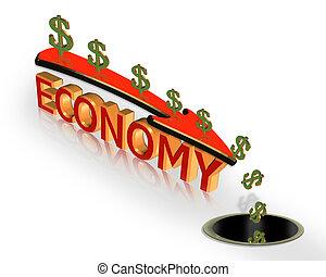 recesión, gráfico, economía, crisis, 3d
