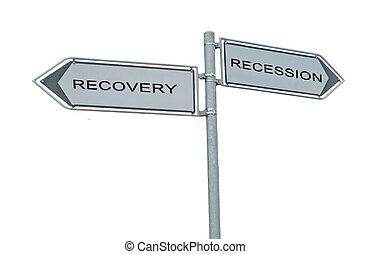 recessão, recuperação, sinal estrada